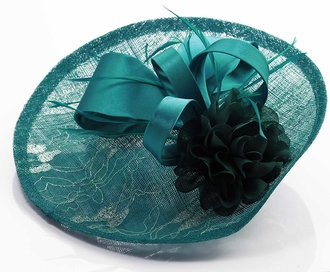 LSH00122 - Teal Mesh Hat Feather Fascinator
