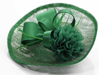LSH00122 - Green  Mesh Hat Feather Fascinator