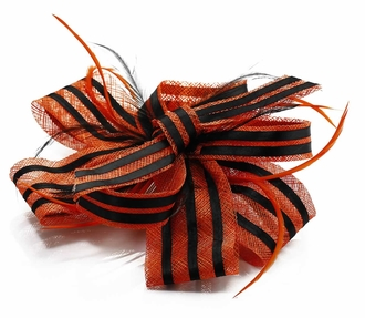 LSH00109- Orange / Black  Feather & Flower Fascinator
