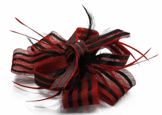 LSH00109- Red / Black  Feather & Flower Fascinator
