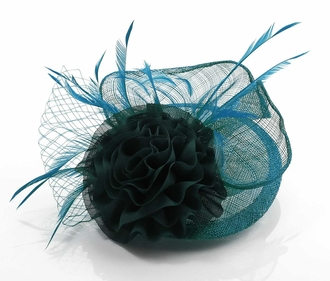 LSH00115 - Teal Mesh Hat Feather Fascinator