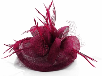 LSH00121 - Purple Mesh & Feather Fascinator