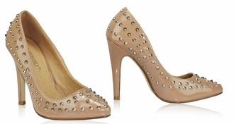 LSS00103 - Nude Studded High Heel Shoes