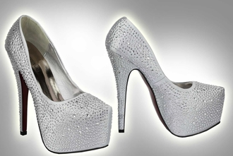 LSS00107 - Silver Diamante Embellished Court Shoes