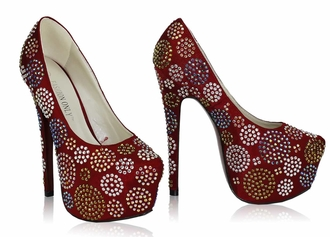 LSS00116 - Red Diamante Embellished Platform Shoes
