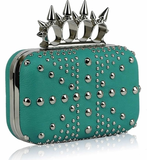 LSE00185- Teal Women's Studded Evening Bag