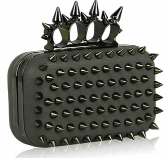 LSE00202- Grey Punk Spike Skull Ring Clutch Purse