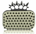LSE00202- Ivory Punk Spike Skull Ring Clutch Purse