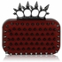 LSE00202- Red Punk Spike Skull Ring Clutch Purse