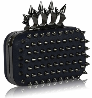 LSE00202- Wholesale & B2B Navy Punk Spike Skull Ring Clutch Purse Supplier & Manufacturer