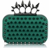 LSE00202- Teal Punk Spike Skull Ring Clutch Purse