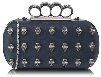LSE00203- Navy Knuckle Rings Clutch Purse