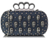 LSE00204- Navy Knuckle Rings Clutch Purse