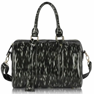 LS7008 - Black Medium Barrel Handbag