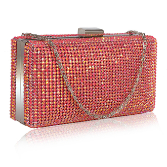 LSE00190- Wholesale & B2B Pink Sparkly Diamante Crystal Evening Clutch Supplier & Manufacturer