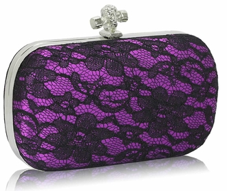 LSE00215 - Classy Purple Ladies Lace Evening Clutch Bag