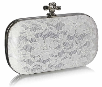 LSE00215 - Classy Ivory Ladies Lace Evening Clutch Bag