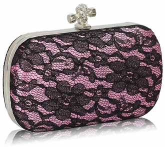 LSE00215 - Classy Pink Ladies Lace Evening Clutch Bag