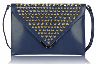 LSE00205 - Navy Large Slim Clutch Bag With Studded Flap