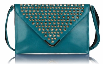 LSE00205 - Teal Large Slim Clutch Bag With Studded Flap