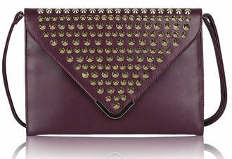 LSE00205 - Purple Large Slim Clutch Bag With Studded Flap