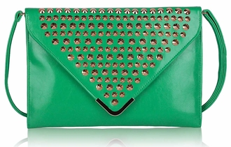 LSE00205 - Emerald Large Slim Clutch Bag With Studded Flap