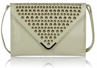 LSE00205 - Ivory Large Slim Clutch Bag With Studded Flap