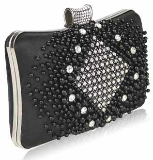 LSE00206 - Wholesale & B2B Black  Beaded Pearl Rhinestone Clutch Bag Supplier & Manufacturer