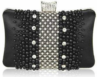 LSE00207 - Wholesale & B2B Black Beaded Pearl Rhinestone Clutch Bag Supplier & Manufacturer