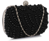 LSE00209 - Wholesale & B2B Black Beaded Pearl Rhinestone Clutch Bag Supplier & Manufacturer