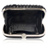 LSE00210 - Black Sparkly Crystal Satin Clutch purse