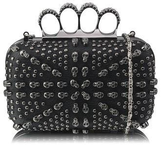 LSE00211 - Black Women's Knuckle Rings Evening Bag