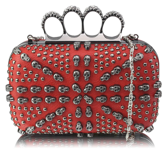 LSE00211 - Red Women's Knuckle Rings Evening Bag