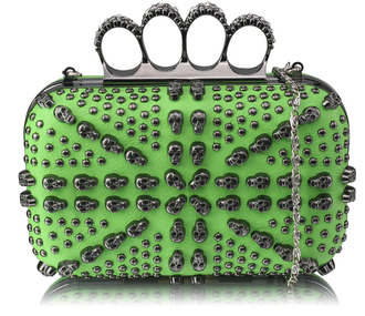 LSE00211 - Green Women's Knuckle Rings Evening Bag