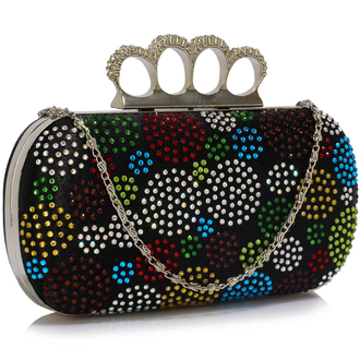 LSE00214 - Wholesale & B2B Black Women's Knuckle Rings Evening Bag Supplier & Manufacturer