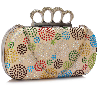 LSE00214 - Wholesale & B2B Champagne Women's Knuckle Rings Evening Bag Supplier & Manufacturer