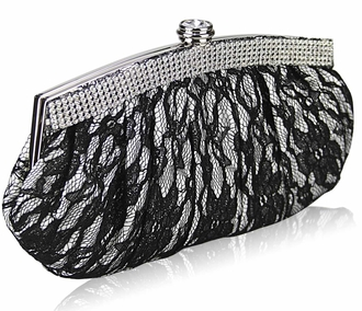 LSE00216 - White Floral Satin Lace Clutch Bag