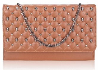 LSE00218 - Brown Quilted Purse With Skull Stud Detail