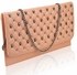 LSE00218 - Pink Quilted Purse With Skull Stud Detail