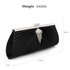 LSE00221 - Black Satin Clutch Bag With Crystal Decoration