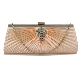 LSE00221 - Champagne Satin Clutch Bag With Crystal Decoration