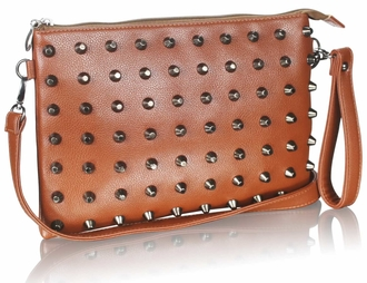 LSE00219 - Brown Purse With  Stud Detail