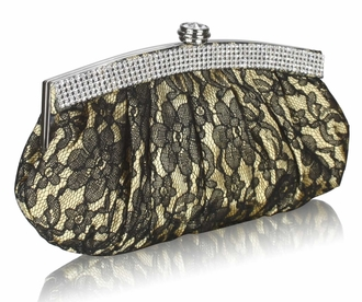 LSE00216 - Gold Floral Satin Lace Clutch Bag