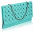 LSE00218 - Emerald Quilted Purse With Skull Stud Detail