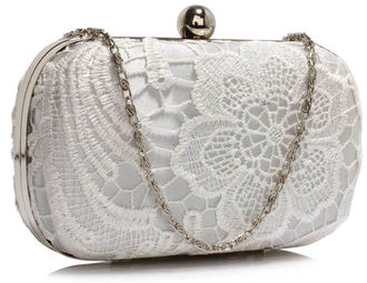 LSE00110 - Classy Ivory Ladies Lace Evening Clutch Bag