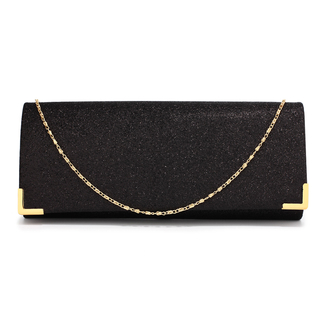 AGC00235 - Black Glitter Clutch Bag