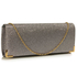 LSE00235 - Grey Glitter Clutch Bag