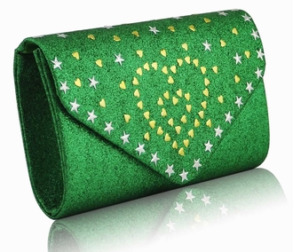 LSE00239 - Green Glitter Cluth With Metal Star Studs