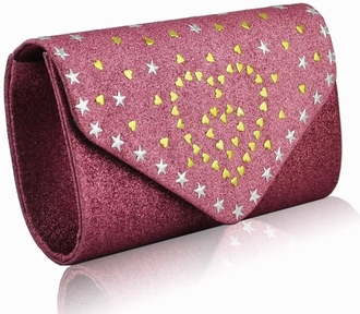 LSE00239 - Pink Glitter Cluth With Metal Star Studs