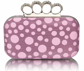 LSE00223 - Pink Women's Knuckle Rings Clutch With Crystal Decoration